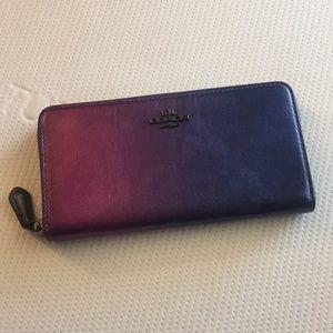 Coach Accordion Zip Wallet Ombre purple hues
